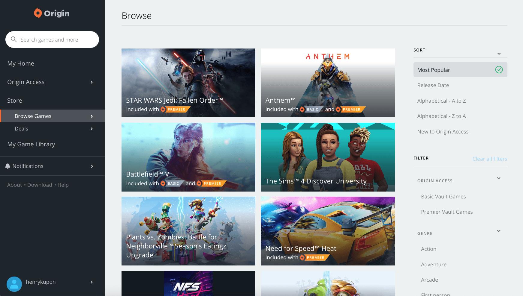 Úvodní stránka obchodu Origin