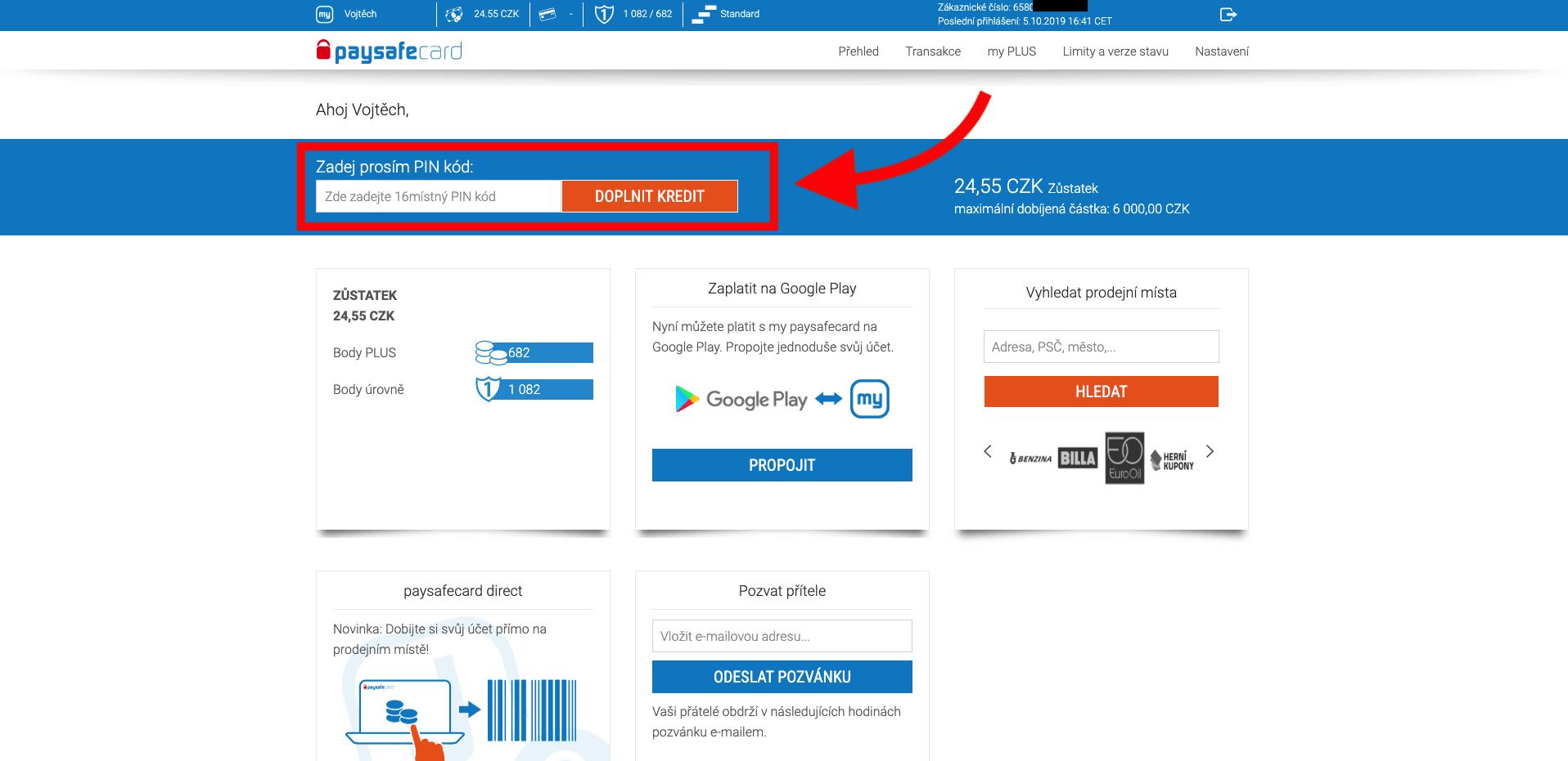 Přehled účtu my paysafecard