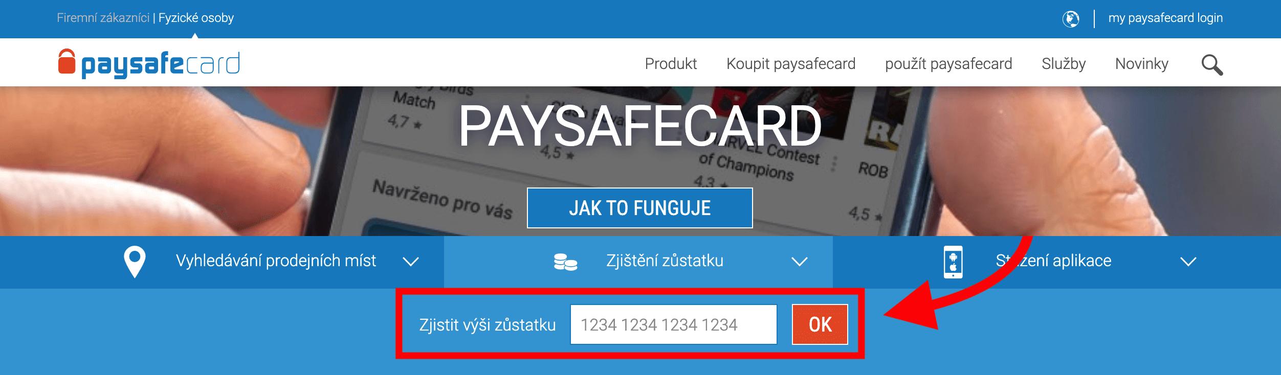 Úvodní stránka pro přihlášení do účtu my paysafecard