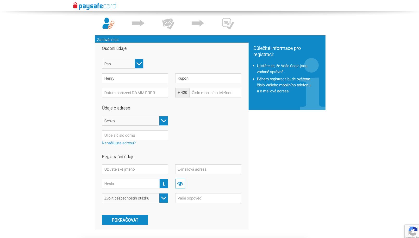 Formulář pro zadání údajů při registraci nového my paysafecard účtu