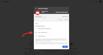 Výběr platební metody při aktivaci členství YouTube Premium.