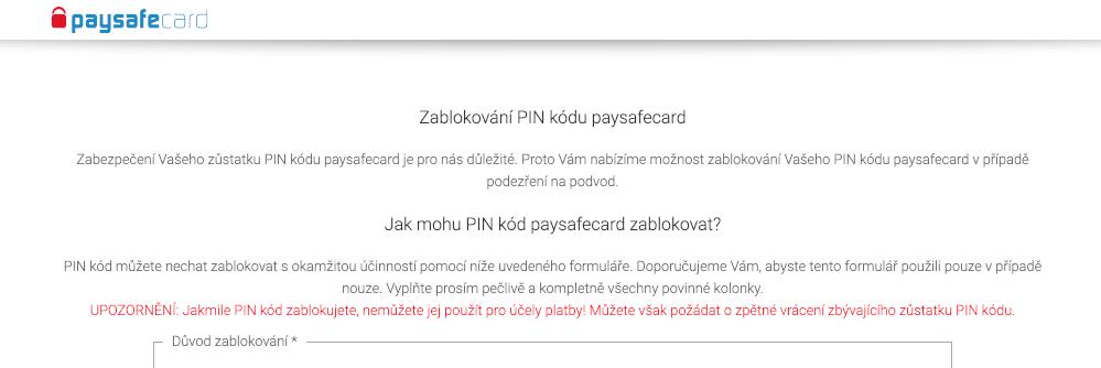 blokace paysafecard pinu