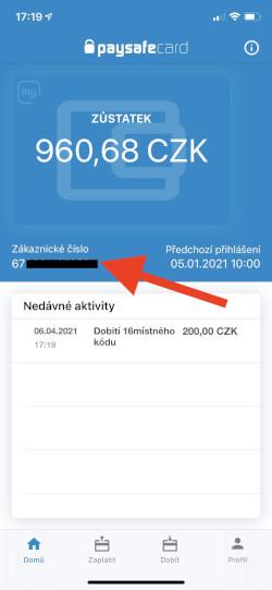 Své zákaznické číslo paysafecard najdete také v mobilní aplikaci.