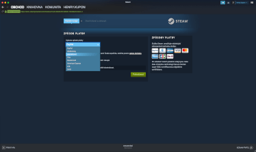 obití Steam peněženky pomocí paysafecard - výběr platební metody