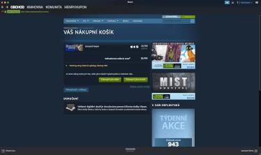 Platba hry na Steamu pomocí paysafecard - hra přidaná do košíku