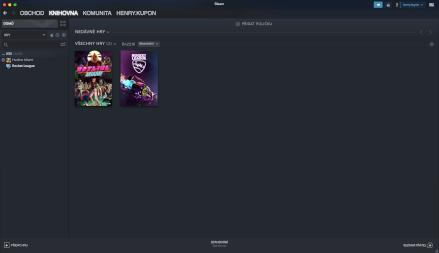Knihovna zakoupených her v aplikaci Steam.