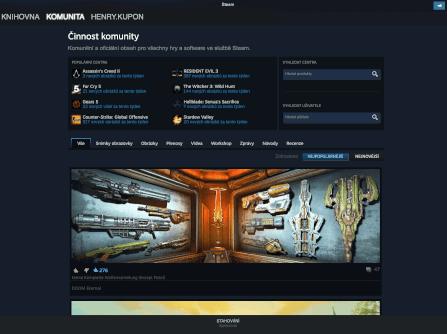 Sekce Komunita v aplikaci Steam.