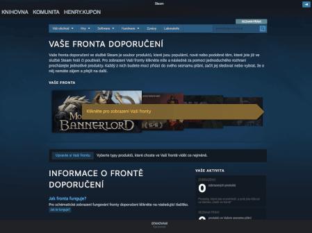 Steam obchod - fronta doporučení.