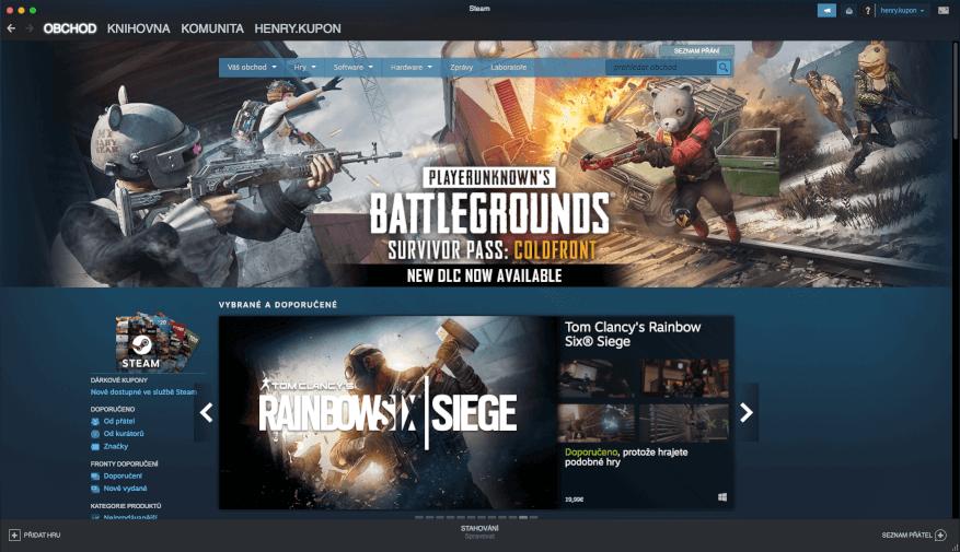 Obchod v aplikaci Steam.