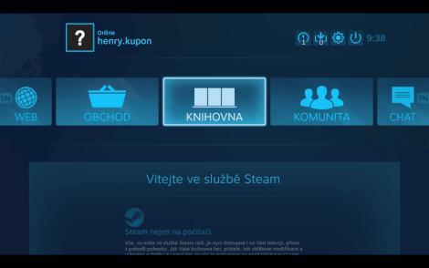 Režim big picture, který umožňuje pohodlné ovládání Steamu pomocí ovladače.