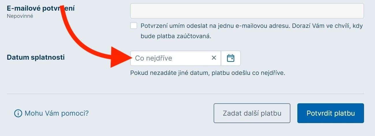 Česká spořitelna - okamžité platby