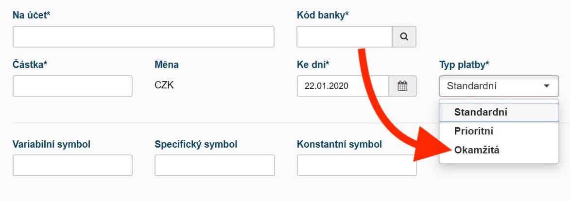 Fio banka - okamžitá platba