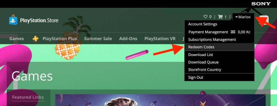 Uplatnění kódu v PlayStation Store na počítači